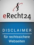 erecht24 siegel disclaimer blau